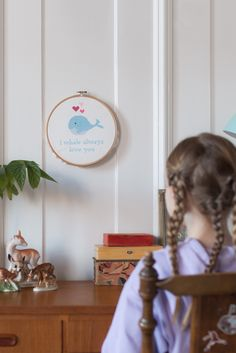 Embroidery has been something we've been passing down from generation to generation for, well - generations. This particular wall hanging from mother to daughter. So cute it almost breaks your heart, right? Order or customize your own on folklorecompany.com #folklorecompany #xstitch #embroidery #diy #creative #inspiration #interior #childrensroom #bedroom #desk Bedroom Desk, Embroidery For Beginners, Design Crafts, Folklore, Wall Hangings, Creative Inspiration, Whale, Kids Room, Craft Projects