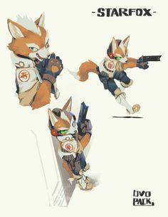 Fox McCloud -Starfox by Ryota Murayama - Ovopack - Star Fox, Fox Character, Character Concept, Character Creation, Concept Art, Super Smash Bros, Nagano, Shining Tears, Fox Mccloud