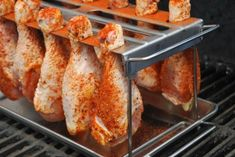 Smoked Chicken Drumsticks - Place the drumstick rack directly on the smoker grates - Smoker Grill Recipes, Smoker Cooking, Grilling Recipes, Electric Smoker Recipes, Grilling Ideas, Food Smoker, Outdoor Grilling, Cooking Lamb, Cooking Steak