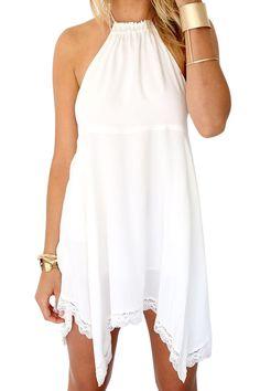 White Irregular Halter Dress