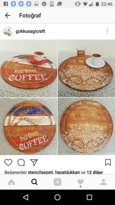 Wood Cutting Boards, Bar Counter, Furniture Makeover, Painting On Wood, Decoupage, Diy And Crafts, Coasters, Handmade, Vintage