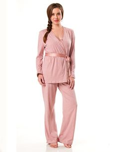 The cutest maternity/nursing pajamas I've seen so far.. underneath the jacket is a nursing tank top.