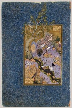 The Conference of the Birds: Page from a manuscript of the Mantiq al–Tayr (The Language of the Birds) of Farid al–Din cAttar, ca. 1600; Safavid Iran (Isfahan) Opaque watercolor, ink, silver, gold on paper; 10 x 4 ½ in. (25.4 x 11.4 cm) Fletcher Fund, 1963 (63.210.11)