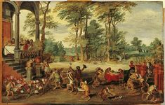 A Satire of Tulip Mania by Brueghel the Younger (ca. 1640) depicts speculators as brainless monkeys in contemporary upper-class dress. In a commentary on the economic folly, one monkey urinates on the previously valuable plants, others appear in debtor's court and one is carried to the grave