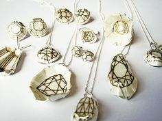 """Kate Bauman """"Decadent Illusion Collection"""" 2011. Enamel, gold lustre, fine silver, sterling silver"""