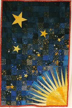 Starburst // make the sun a moon, cool idea for an appliqué quilt for my new home.Starburst // make the sun a moon, cool idea for an appliqué quilt for my new home. Quilt Baby, Arts And Crafts Movement, Quilt Modernen, Landscape Quilts, Star Quilts, Fabric Art, Quilting Projects, Quilting Ideas, Quilt Making