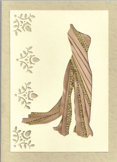 Ribbon Iris Fold Card Dress in Cream and Gold by FourSistersShop