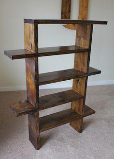 Unique Bookshelf in Dark Walnut stain. Diy Furniture Projects, Diy Pallet Projects, Ikea Furniture, Woodworking Furniture, Pallet Furniture, Woodworking Projects, Furniture Design, Teds Woodworking, Rustic Furniture