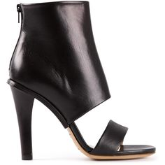 MAISON MARTIN MARGIELA cut-out ankle boot ($745) ❤ liked on Polyvore featuring shoes, boots, ankle booties, heels, ankle boots, black cut-out booties, heeled booties, short black boots, black high heel boots and black ankle booties