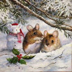 Snow Mouse Original Painting by Susan Rios Christmas Mice in Snow by SusanRiosDesigns on Etsy https://www.etsy.com/listing/265614082/snow-mouse-original-painting-by-susan
