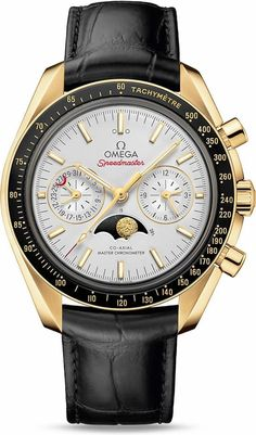 Omega Speedmaster Moonwatch Master Chronometer Moonphase Yellow Gold.This 44.25 mm model features an opaline silvery dial, with diamond polished 18K yellow gold indexes and hands. At 6 o'clock is the accurate Moonphase indication, which features an 18K yellow gold hand-engraved moon disc, filled with enamel and sprinkled with silver powder to represent the stars.