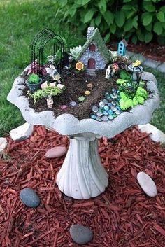 10 Amazing Miniature Fairy Garden Ideas Gnome Garden In A Bird Bath! My Fairy Garden, Fairy Gardening, Fairies Garden, Bird Bath Garden, Garden Plants, Easy Garden, Balcony Garden, House Plants, Bird Bath Planter