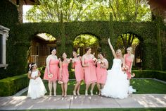 Strapless peach colored brides maid dresses and white dress for the flower girl | villasiena.cc