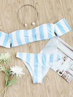 Shein Block Striped Off The Shoulder Bikini Set