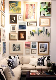 Wall of art, this would make a great reading nook as well | Serena & Lily Design Shop | Sacramento Street