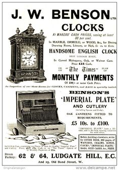 Original - Anzeige / Advertise 1903 : (ENGLISH) J.W. BENSON / CLOCKS / IMPERIAL PLATE   - 120 x 180 mm