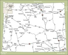 State Map Of Wyoming Cities Google Search MAPS Pinterest - Map of wyoming cities