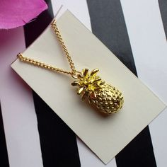 "SHIPS NOW! 14K gold Pineapple necklace chain charm Show you love for this summertime fruit with this gorgeous 14K gold plated pineapple charm necklace.  - Chain measures 23""-26"" - Charm measures 1"" - 14K gold plated zinc-alloy Jewelry Necklaces"