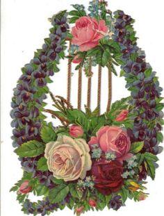 Larger-Victorian-Die-Cut-Scrap-Harp-w-Violets-Roses-c1880