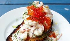 A Swedish speciality of prawns on toast
