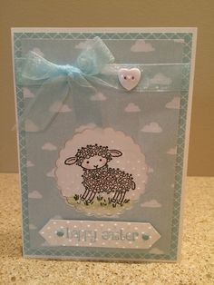 Easter Card featuring the Stampin' Up Easter Lamb stamp
