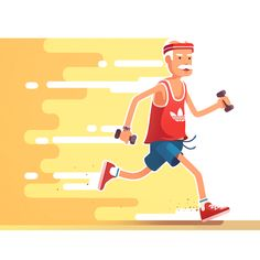 They are running really fast with those dumbbells. Not like you weak hipsters. / #illustration