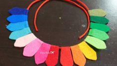 Leftover felt necklace: Rainbow colors