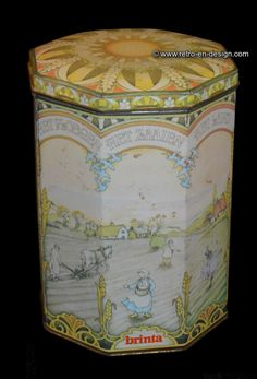 Vintage octagonal storage container or tin by Brinta Rare octagonal drum with lid and provided with land scenes for Brinta porridge by Honig.   Dating from 1950 to 1990   http://www.retro-en-design.co.uk/a-48212843/tins/vintage-octagonal-storage-container-or-tin-by-brinta/
