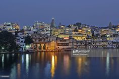 city view at night of illuminated Udaipur with lake Pichola and Ghat in front, reflection in water, Rajasthan, India Udaipur, Night Shot, Water Reflections, Rajasthan India, My Images, City, Pictures, Indian, Night