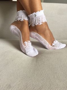 Women's Socks Lace Ankle Socks Wedding Socks Gift For Her (6.99 USD) by Muggyshop