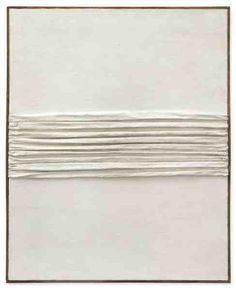 blackv:  PIERO MANZONIAchrome1959Kaolin and folded canvas on Hessian321/2 x 263/8 inches82.5 x 67cm