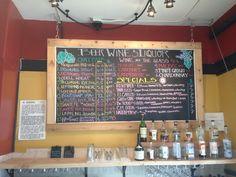 I love colored chalk menus on blackboards, like this beverage menu at Cannon Mine.