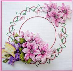 Voorbeeldkaart - bloemtjes met borduursel - Categorie: Borduren - Hobbyjournaal uw hobby website