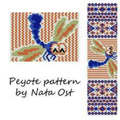 Beading Peyote Pattern Stitch Bracelet Dragonfly by NataOst