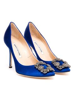 MANOLO BLAHNIK Hangisi Embellished Satin 105mm Pumps | £650 | Browns