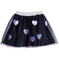 Billieblush Navy Blue Tulle & Smiley Face Skirt at Childrensalon.com