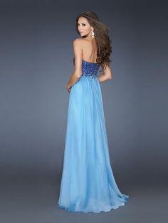 A-line Chiffon Sweetheart Natural Waist Floor-Length Zipper Sleeveless Sequins Prom Dress picture 2
