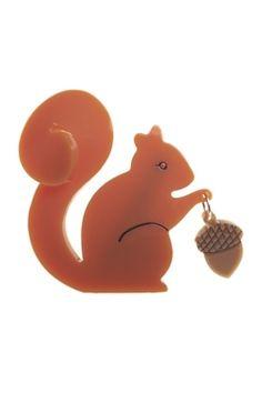 Erstwilder The Satisfied Squirrel Brooch - Womens Brooches - Birdsnest Buy Online