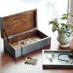 A simple Wood and Metal Jewelry box | Metal-Wrapped Jewelry Box + Tray | west elm #minimalist