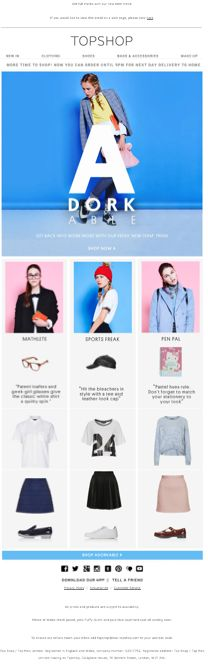 Topshop 'back to school' email
