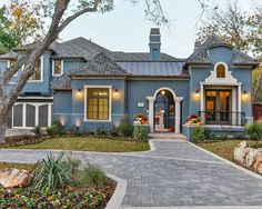 This would be a beautiful color exterior for our house with the front door painted in Sherwin Williams Polished Mahogany