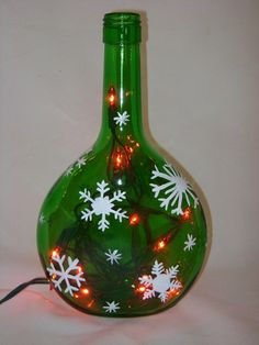 Hand Painted Recycled Wine Bottle With Snowflakes And Lights
