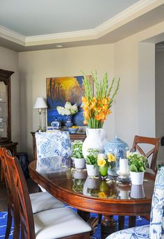 The wall colour is SW Agreeable Gray 7029 and the blue ceiling is SW Atmospheric 6505 Refresh your Dining Room with Upholstered Chairs: Before & After | Maria Killam | True Colour Expert | Decorator