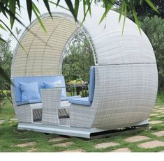 Great outdoors never fail to uplift people's mood. Spending your money for rattan furniture or modern outdoor wicker furniture won't be a pain because you will Outdoor Daybed, Outdoor Seating, Outdoor Chairs, Round Gazebo, Patio Swing, Porch Swings, Outdoor Wicker Furniture, Garden Chairs, Apartment Furniture
