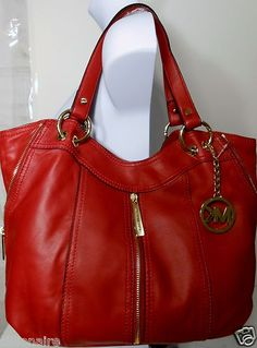 $265.00 MICHAEL KORS RED GENUINE LEATHER MOXLEY SHOULDER TOTE SATCHEL + FREE GIFT