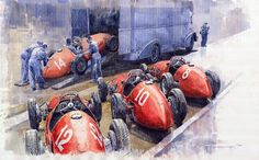 "Saatchi Art Artist: Yuriy Shevchuk; Watercolor 2011 Painting ""Team Ferrari 500 F2 1952 French GP"""