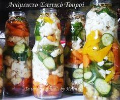 Η λέξη τουρσί ( torsh =ξινό) είναι Περσικής προελεύσεως και σημαίνει τα διατηρημένα μέσα σε άλμη λαχανικά. Το τουρσί είναι ένα πολύ αγαπ... The Kitchen Food Network, Greek Desserts, Chutney, Food Network Recipes, Pickles, Cucumber, Sushi, Homemade, Canning