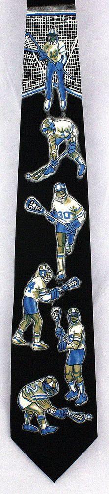 New Lacrosse Game Mens Necktie Ball Crosse Stick Coach Gift Sports Neck Tie #Parquet #NeckTie