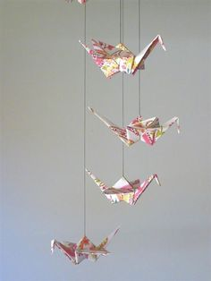 Origami Crane Mobile - Baby Mobile - Children Decor - Eco Friendly - Baby Nursery Pink Paisley Unique Nature Girl Girly Birds. $28.00, via Etsy.