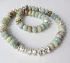 Amazonit - Amazonit-Kette Collier multicolor-silber - ein Designerstück von…
